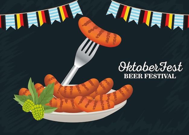 Feliz celebração da oktoberfest com salsichas no prato e ilustração vetorial de guirlandas de festa.
