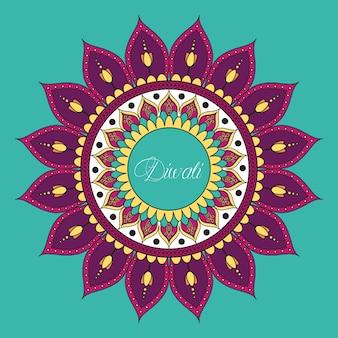 Feliz celebração de diwali com decoração de mandala