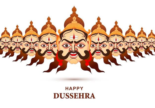 Feliz celebração de dussehra: ravana zangada com cartão de pôster de dez cabeças