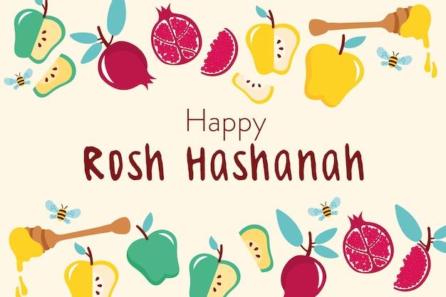 Feliz celebração de rosh hashaná com moldura de frutas