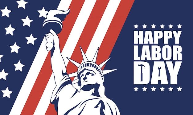 Feliz celebração do dia do trabalho com a bandeira dos eua e a estátua da liberdade