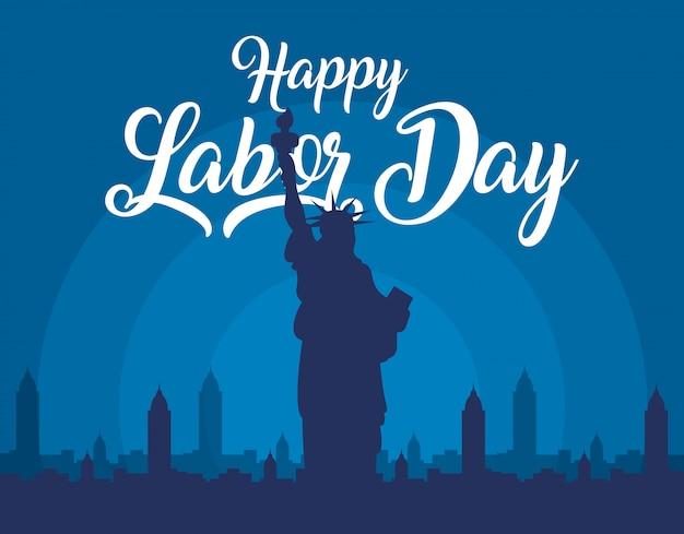 Feliz celebração do dia do trabalho com a estátua da liberdade
