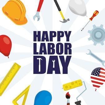 Feliz celebração do dia do trabalho com capacete e ferramentas