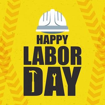 Feliz celebração do dia do trabalho com capacete e letras