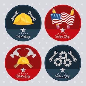 Feliz celebração do dia do trabalho com emblemas circulares definidos