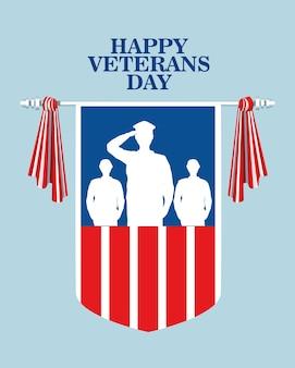 Feliz celebração do dia dos veteranos com oficial militar e soldados saudando no design de ilustração vetorial de escudo