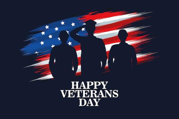 Feliz celebração do dia dos veteranos com um oficial militar e soldados saudando o design de ilustração vetorial