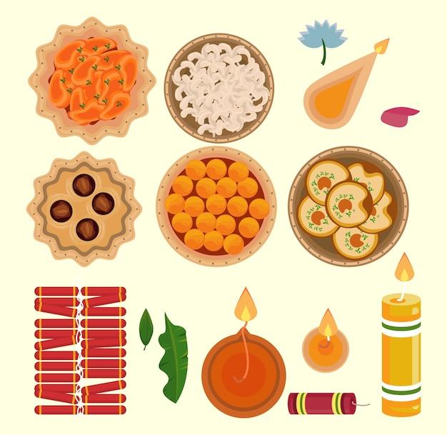 Feliz celebração do diwali com ícones definidos