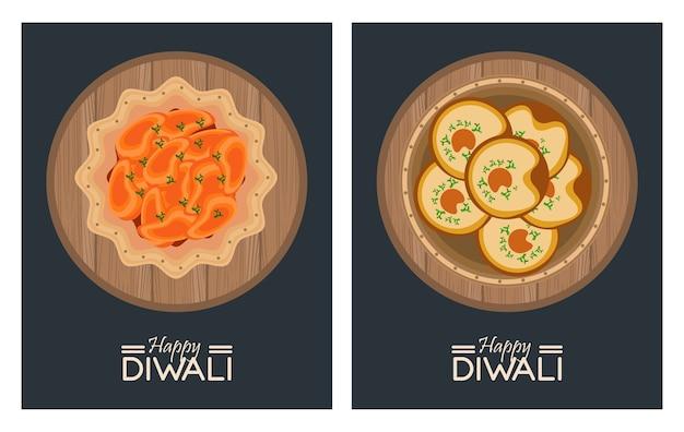 Feliz celebração do diwali com pratos, comida e inscrições