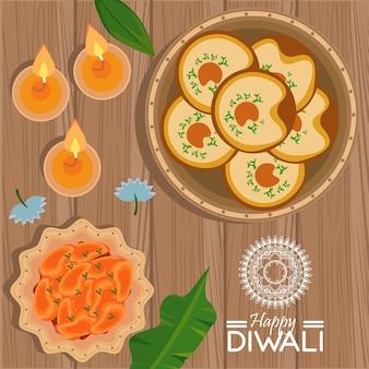 Feliz celebração do diwali com três velas e comida
