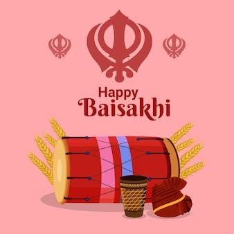 Feliz celebração do festival sikh indiano vaisakhi com elementos planos