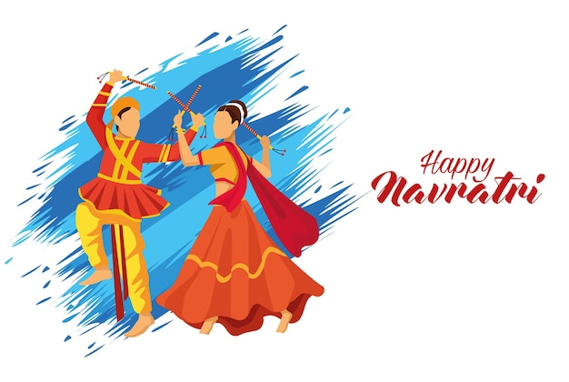 Feliz celebração do navratri com casal de dançarinos e desenho de ilustração vetorial de letras