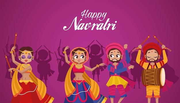 Feliz celebração do navratri com dançarinos e homem tocando tambor