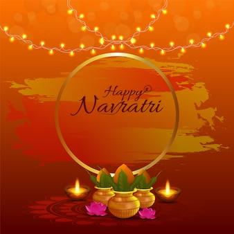 Feliz celebração do navratri com luzes e flores