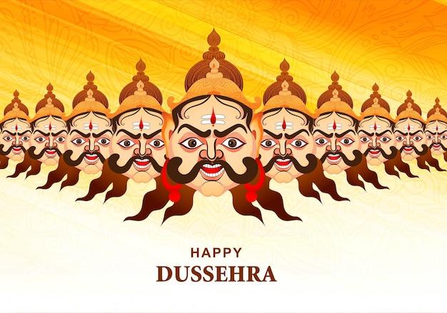 Feliz celebração dussehra ravana zangada com design de cartão de dez cabeças