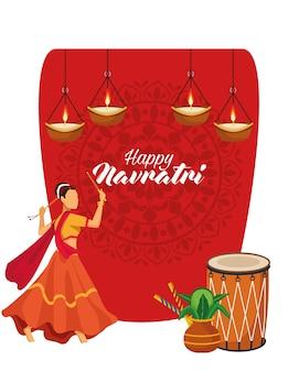 Feliz celebração navratri com desenho de ilustração vetorial de tambor e dançarina