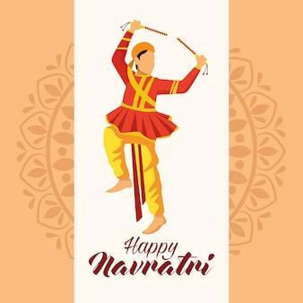 Feliz celebração navratri com desenho de ilustração vetorial homem dançarino