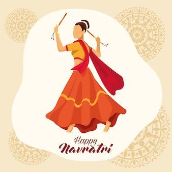 Feliz celebração navratri com desenho de ilustração vetorial mulher dançarina