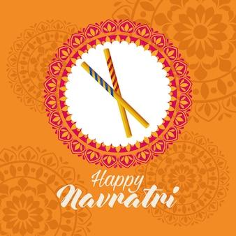 Feliz celebração navratri com varas em desenho de ilustração vetorial de mandala