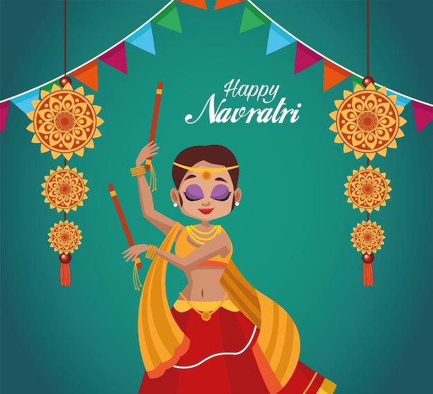 Feliz celebração navratri e mulher dançando e guirlandas