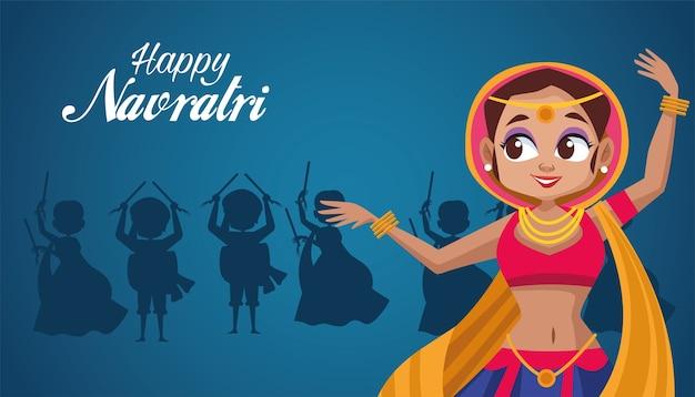 Feliz celebração navratri e mulher dançando