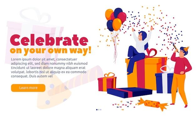 Feliz celebração pessoas com confetes com caixas de presente