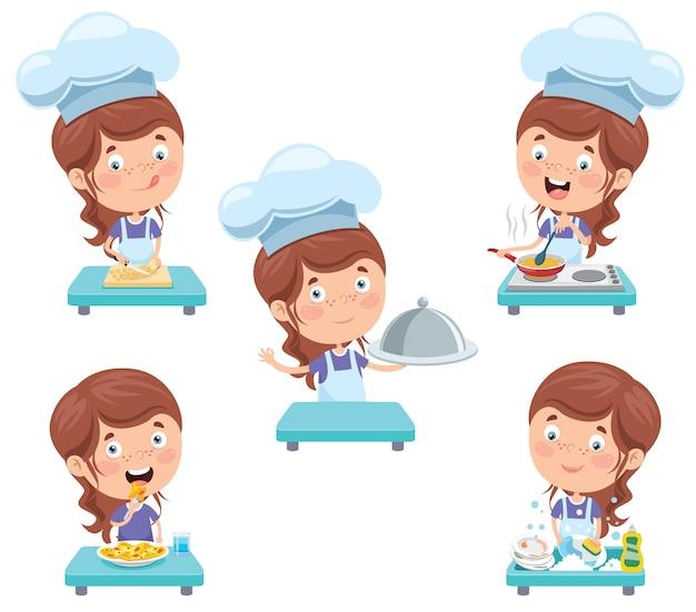 Feliz chef pequeno bonito cozinhar