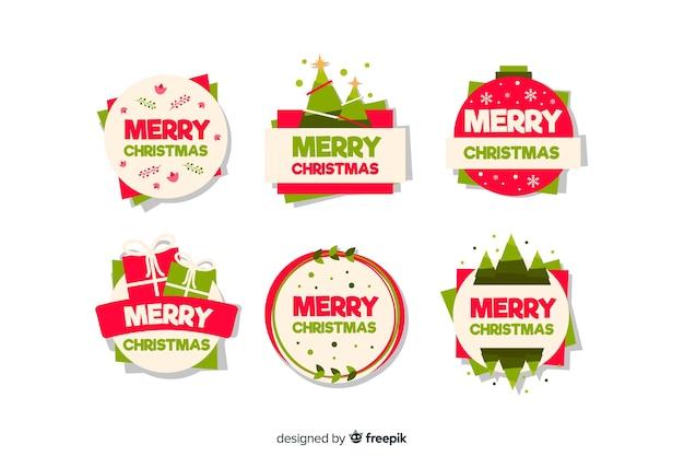 Feliz christman emblema coleção estilo design plano