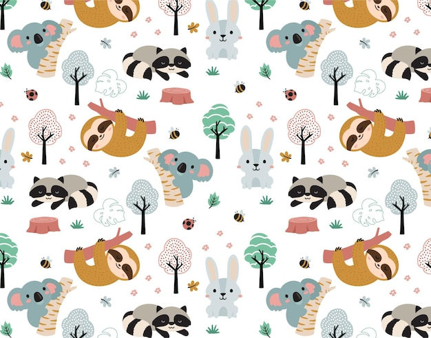 Feliz coala da selva e padrão de animais de amigos