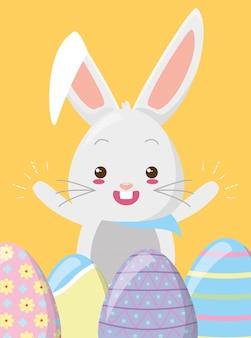 Feliz coelho ovos de páscoa
