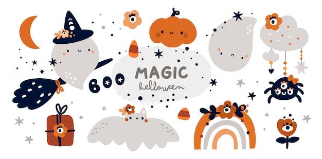 Feliz coleção de halloween fantasma, bruxa, abóbora, arco-íris