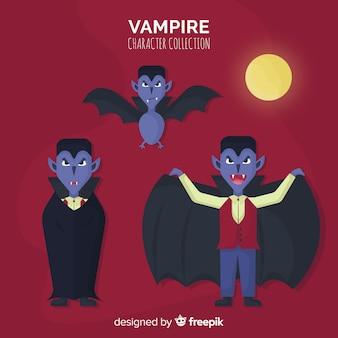 Feliz coleção de personagem de vampiro de halloween em desing plana