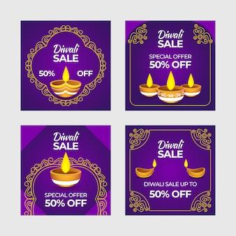 Feliz coleção de postagens de venda do instagram de diwali