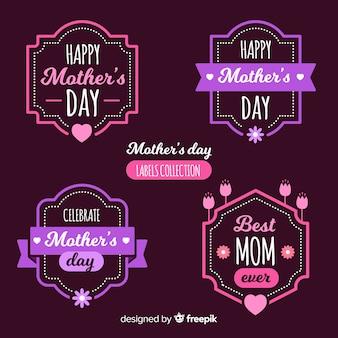 Feliz coleção de rótulo de dia das mães