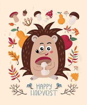 Feliz colheita. cartão de outono com ouriço e folhas