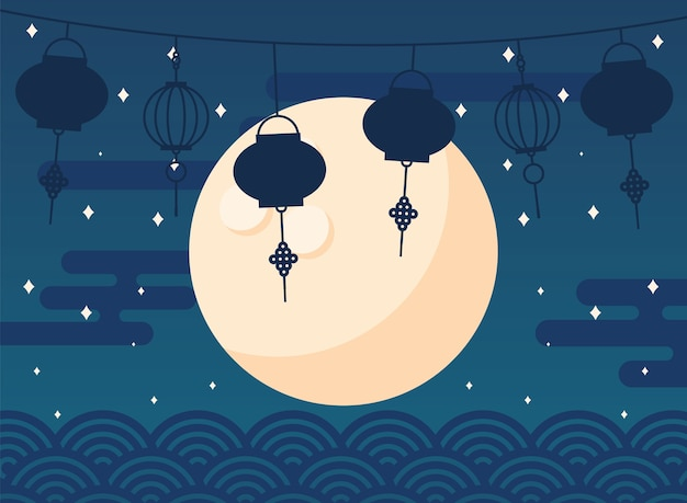 Feliz colheita do meio do outono com estrelas da lua e lanternas
