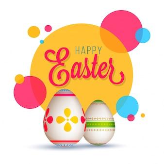Feliz conceito de páscoa com ovos pintados