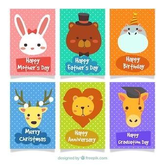 Feliz conjunto de cartões de animais coloridos