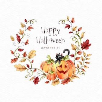 Feliz coroa de halloween com folhas de outono