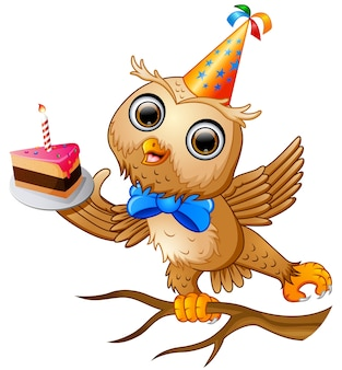 Feliz, coruja, caricatura, celebrando, aniversário