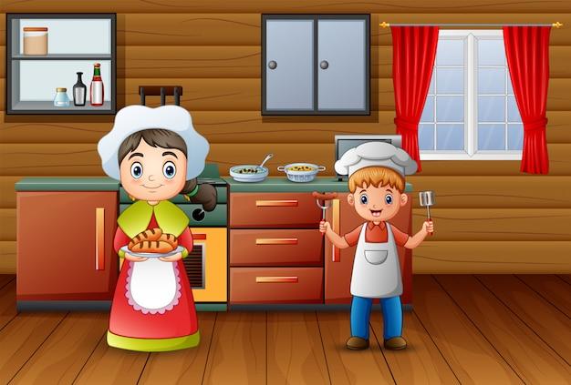 Feliz cozinhar com o irmão e a irmã