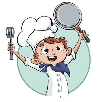 Feliz, cozinhe menino, com, frigideira