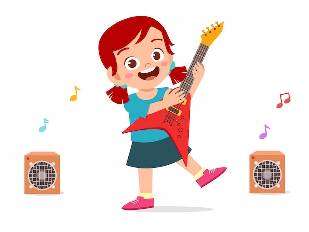 Feliz criança menina bonitinha tocar guitarra