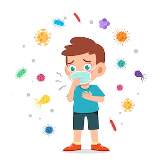 Feliz criança menino bonitinho usar máscara evitar ilustração de vírus