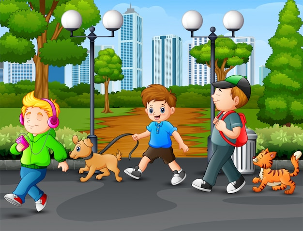 Feliz, crianças, andar, e, desfrutando, parque