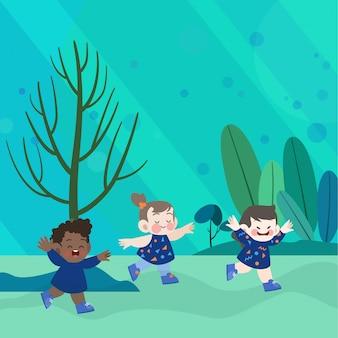 Feliz crianças brincam na ilustração vetorial de parque