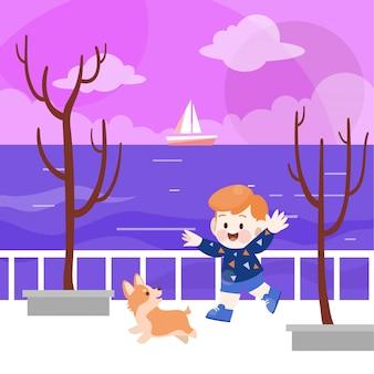 Feliz crianças brincam na ilustração vetorial de praia