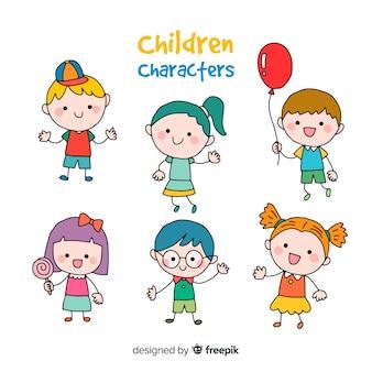 Feliz, crianças, caricatura, cobrança