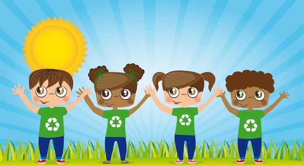 Feliz, crianças, com, recicle camisas