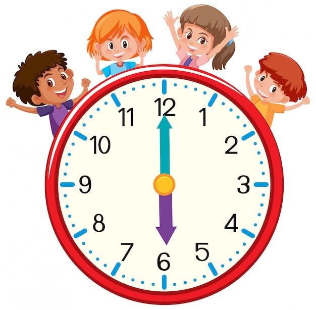 Feliz, crianças, com, relógio